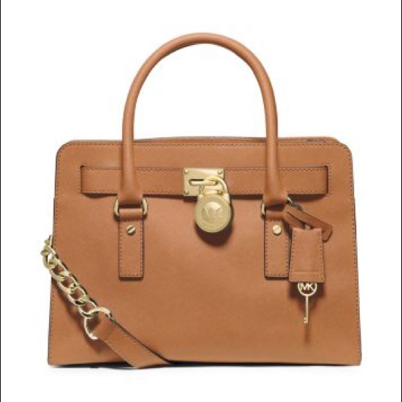 Michael Kors MK Tan Cognac Hamilton Bag Purse